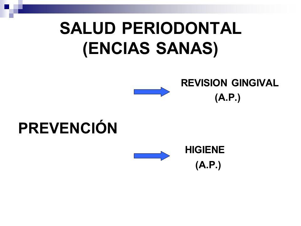 SALUD PERIODONTAL (ENCIAS SANAS) REVISION GINGIVAL (A.P.) PREVENCIÓN HIGIENE (A.P.)