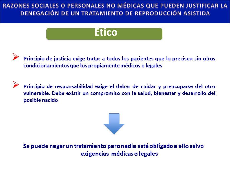 Principio de justicia exige tratar a todos los pacientes que lo precisen sin otros condicionamientos que los propiamente médicos o legales Principio d