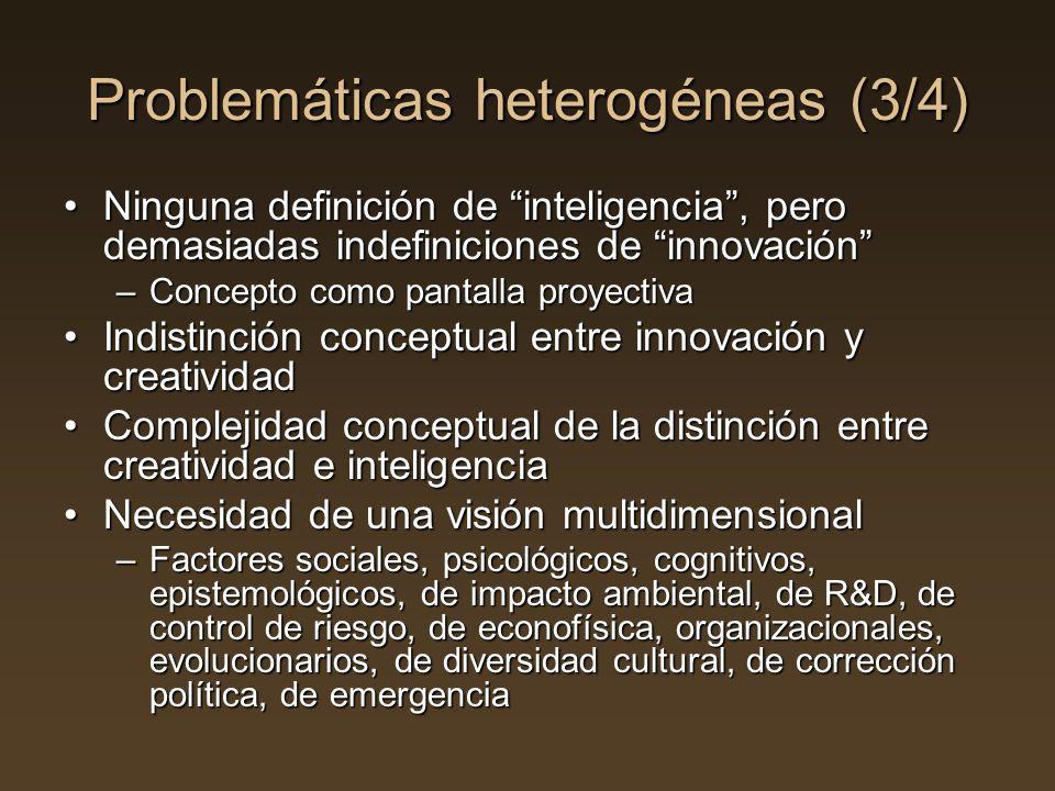 Problemáticas heterogéneas (3/4) Ninguna definición de inteligencia, pero demasiadas indefiniciones de innovaciónNinguna definición de inteligencia, p