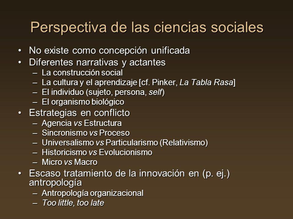 Perspectiva de las ciencias sociales No existe como concepción unificadaNo existe como concepción unificada Diferentes narrativas y actantesDiferentes
