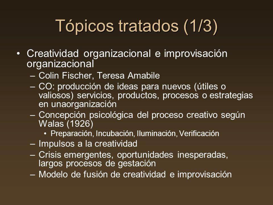 Tópicos tratados (1/3) Creatividad organizacional e improvisación organizacional –Colin Fischer, Teresa Amabile –CO: producción de ideas para nuevos (