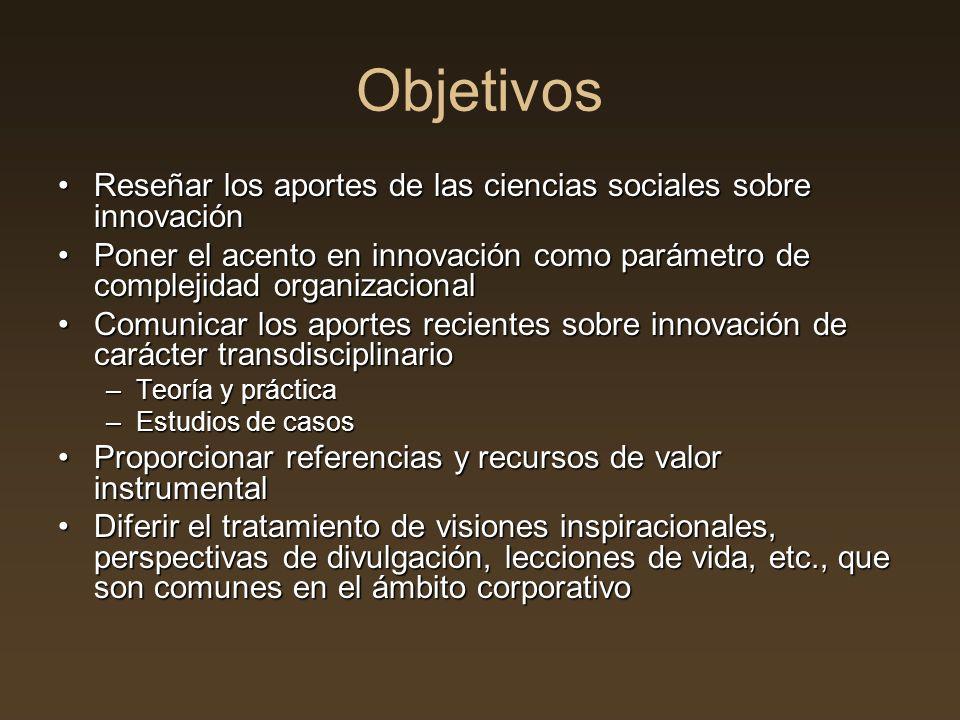 Objetivos Reseñar los aportes de las ciencias sociales sobre innovaciónReseñar los aportes de las ciencias sociales sobre innovación Poner el acento e