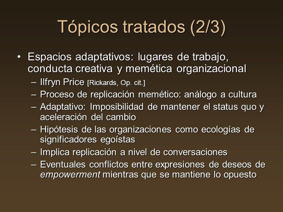 Tópicos tratados (2/3) Espacios adaptativos: lugares de trabajo, conducta creativa y memética organizacionalEspacios adaptativos: lugares de trabajo,