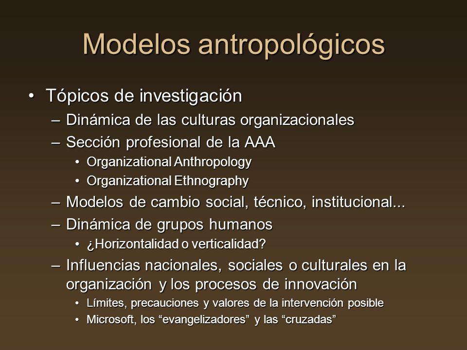 Tópicos de investigaciónTópicos de investigación –Dinámica de las culturas organizacionales –Sección profesional de la AAA Organizational Anthropology