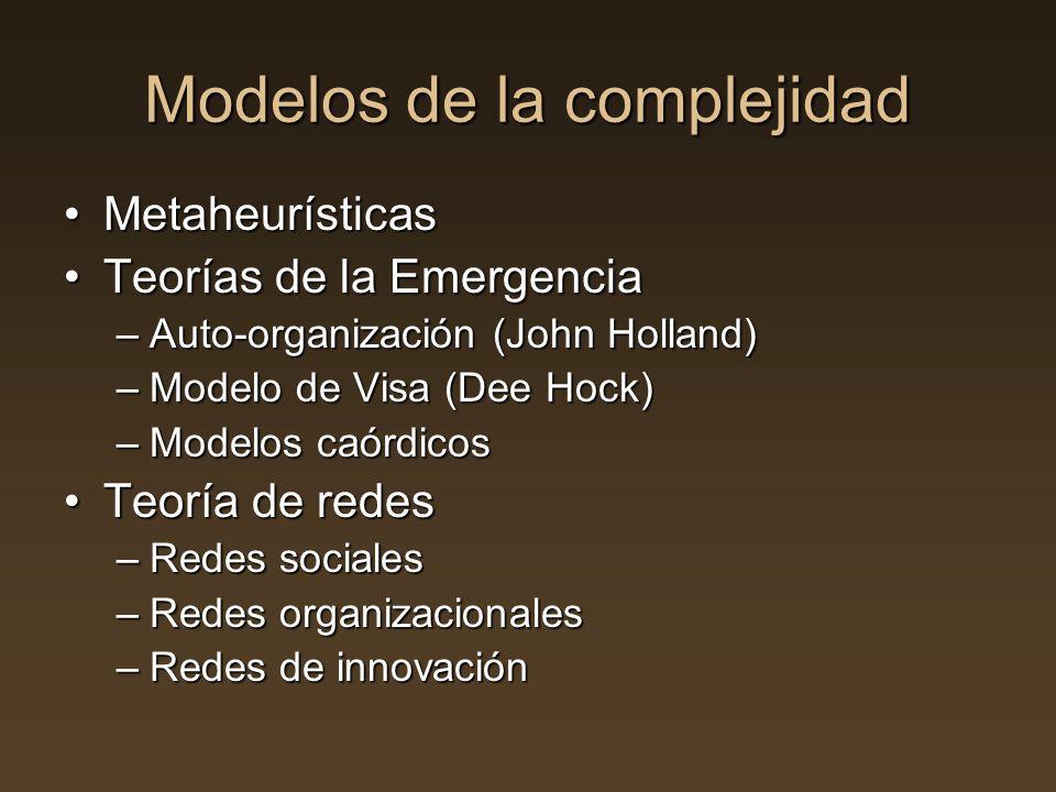 Modelos de la complejidad MetaheurísticasMetaheurísticas Teorías de la EmergenciaTeorías de la Emergencia –Auto-organización (John Holland) –Modelo de