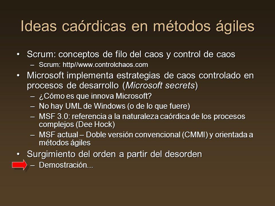 Ideas caórdicas en métodos ágiles Scrum: conceptos de filo del caos y control de caosScrum: conceptos de filo del caos y control de caos –Scrum: http/