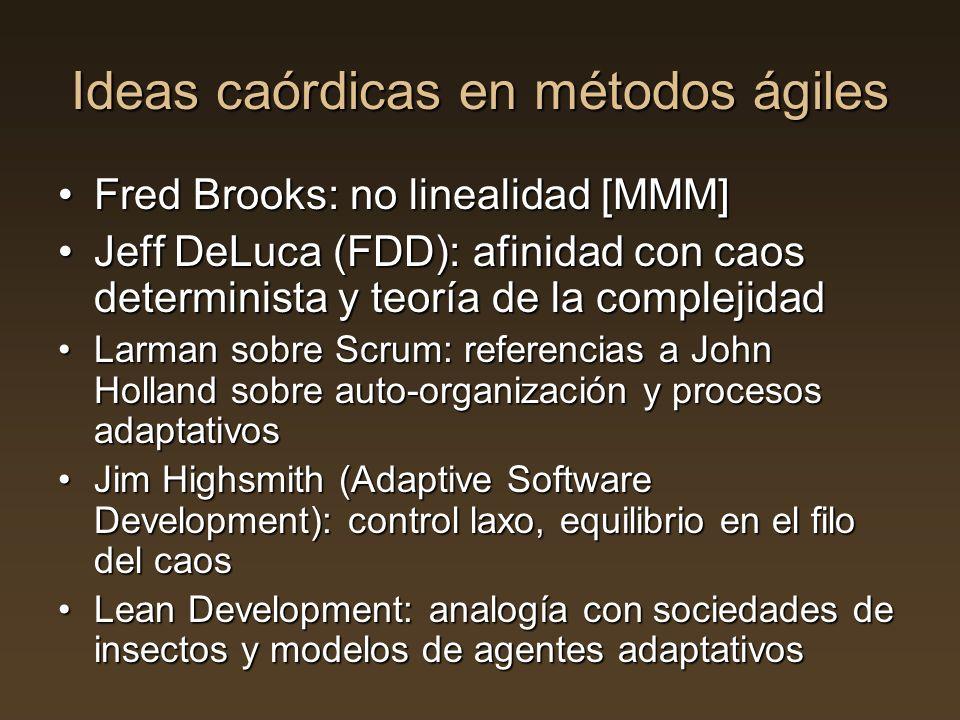 Ideas caórdicas en métodos ágiles Fred Brooks: no linealidad [MMM]Fred Brooks: no linealidad [MMM] Jeff DeLuca (FDD): afinidad con caos determinista y