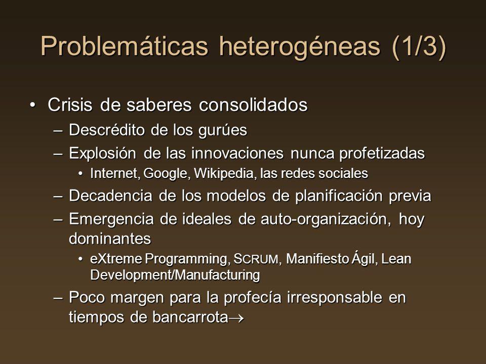 Problemáticas heterogéneas (1/3) Crisis de saberes consolidadosCrisis de saberes consolidados –Descrédito de los gurúes –Explosión de las innovaciones