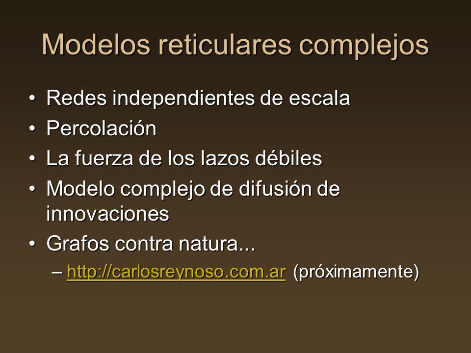 Modelos reticulares complejos Redes independientes de escalaRedes independientes de escala PercolaciónPercolación La fuerza de los lazos débilesLa fue