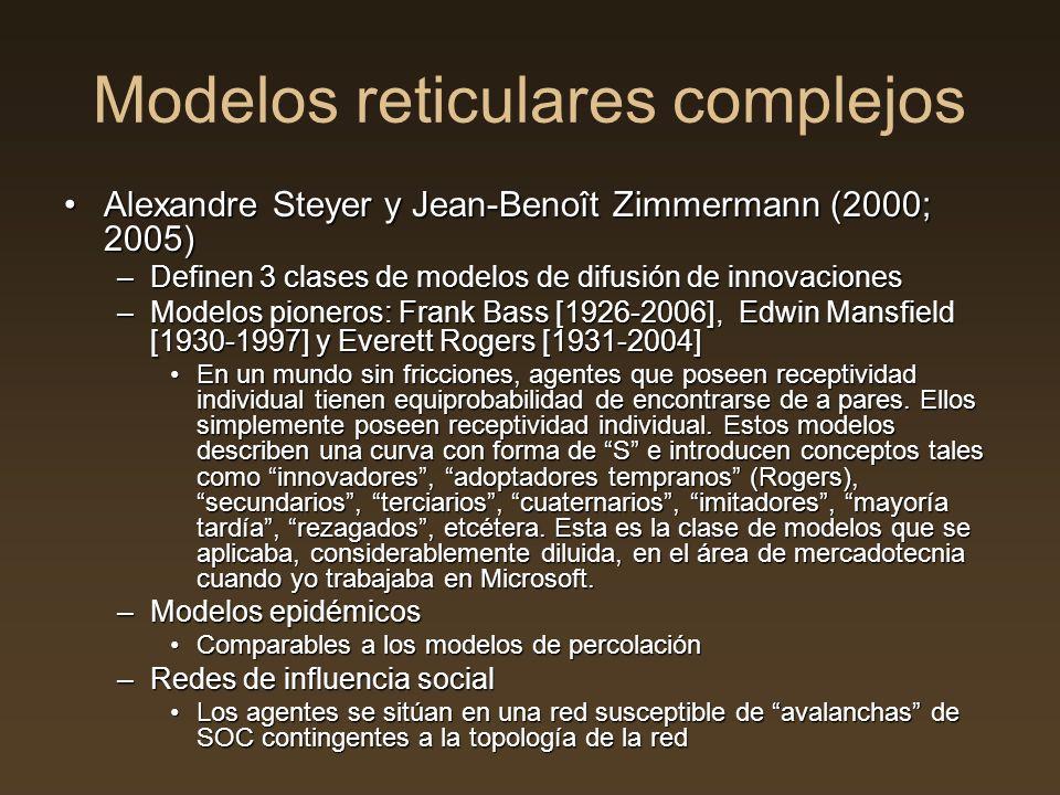 Modelos reticulares complejos Alexandre Steyer y Jean-Benoît Zimmermann (2000; 2005)Alexandre Steyer y Jean-Benoît Zimmermann (2000; 2005) –Definen 3