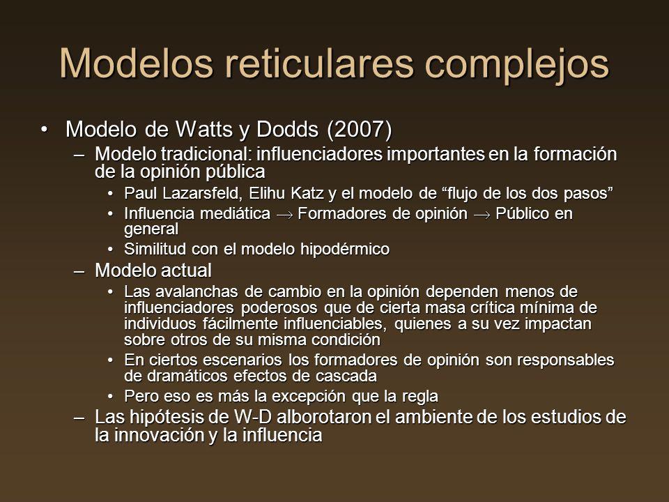 Modelos reticulares complejos Modelo de Watts y Dodds (2007)Modelo de Watts y Dodds (2007) –Modelo tradicional: influenciadores importantes en la form