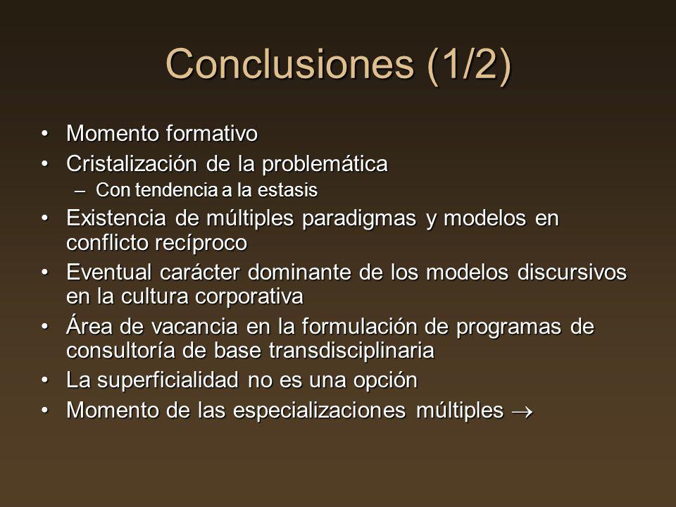Conclusiones (1/2) Momento formativoMomento formativo Cristalización de la problemáticaCristalización de la problemática –Con tendencia a la estasis E