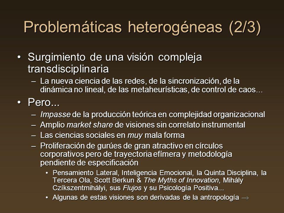 Problemáticas heterogéneas (2/3) Surgimiento de una visión compleja transdisciplinariaSurgimiento de una visión compleja transdisciplinaria –La nueva