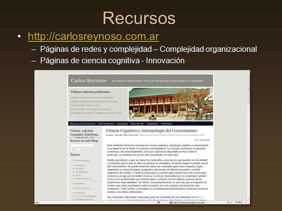 Recursos http://carlosreynoso.com.arhttp://carlosreynoso.com.arhttp://carlosreynoso.com.ar –Páginas de redes y complejidad – Complejidad organizaciona