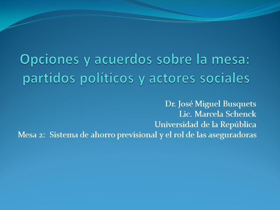 Dr. José Miguel Busquets Lic. Marcela Schenck Universidad de la República Mesa 2: Sistema de ahorro previsional y el rol de las aseguradoras