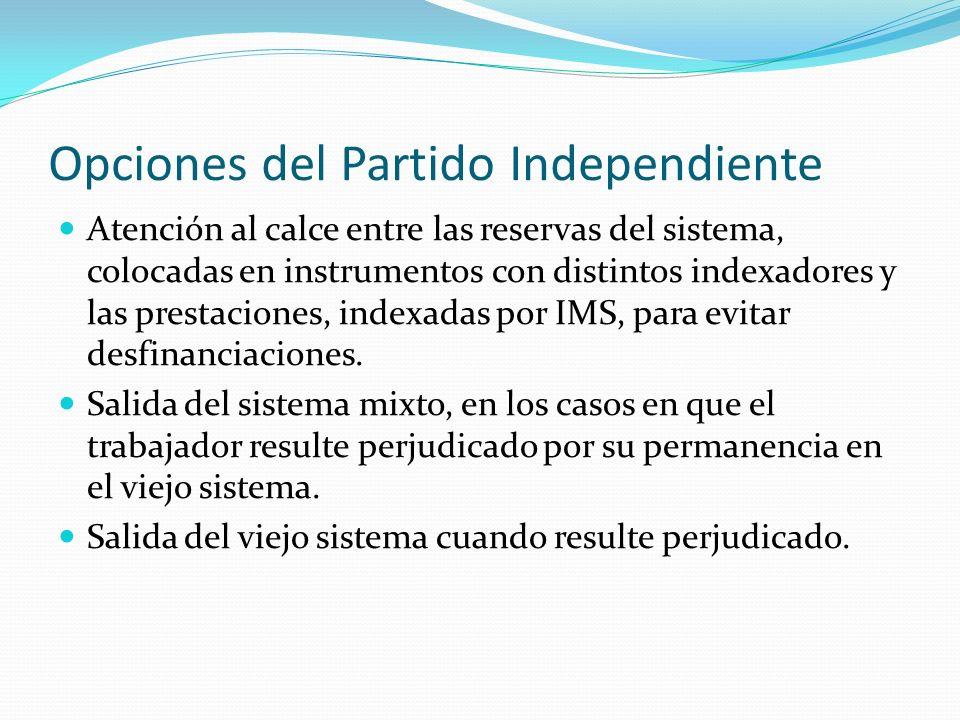 Opciones del Partido Independiente Atención al calce entre las reservas del sistema, colocadas en instrumentos con distintos indexadores y las prestaciones, indexadas por IMS, para evitar desfinanciaciones.