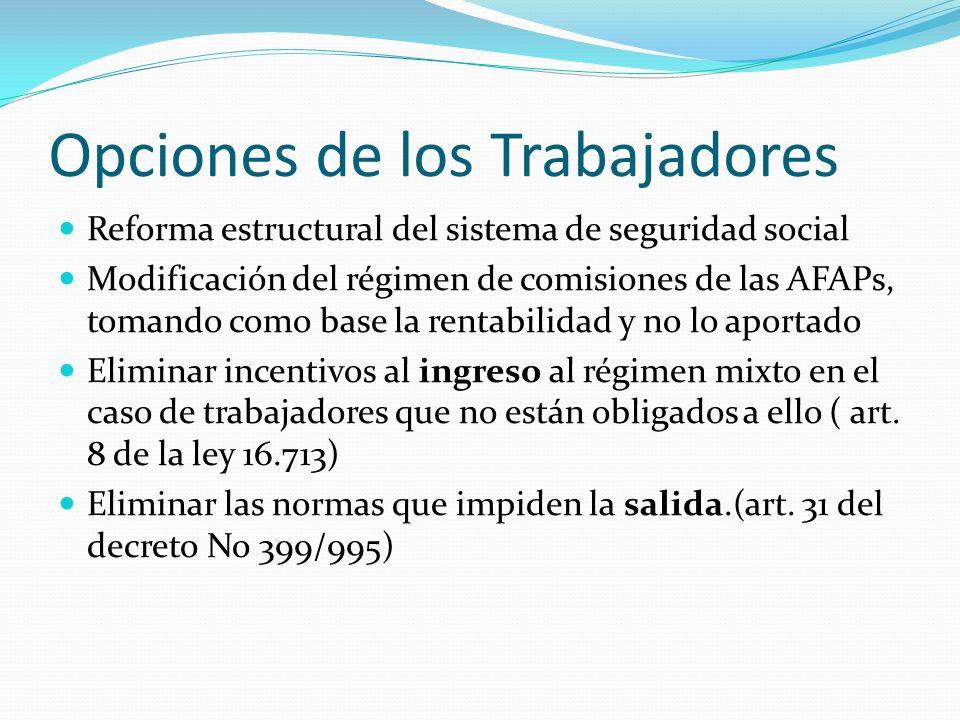 Opciones de los Trabajadores Reforma estructural del sistema de seguridad social Modificación del régimen de comisiones de las AFAPs, tomando como bas