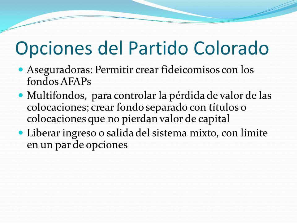 Opciones del Partido Colorado Aseguradoras: Permitir crear fideicomisos con los fondos AFAPs Multifondos, para controlar la pérdida de valor de las colocaciones; crear fondo separado con títulos o colocaciones que no pierdan valor de capital Liberar ingreso o salida del sistema mixto, con límite en un par de opciones