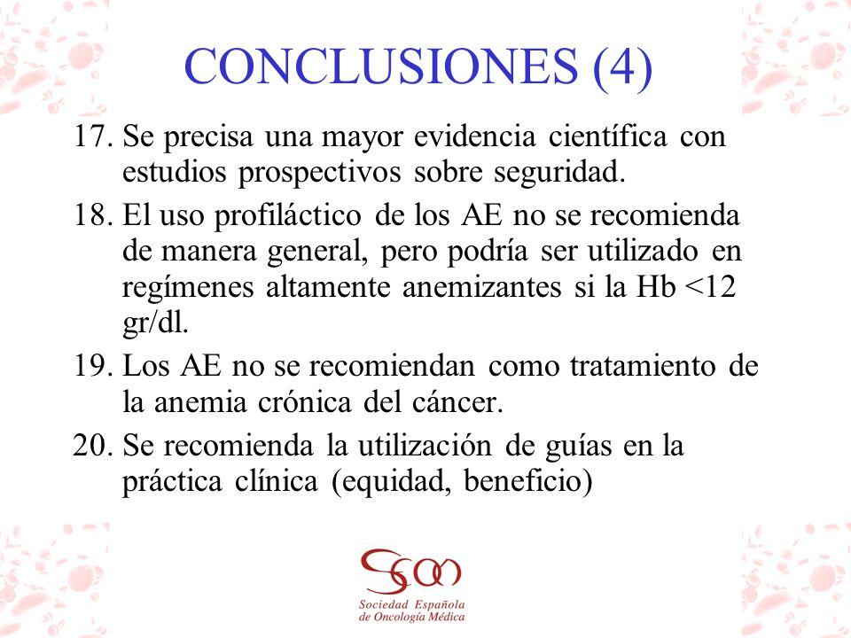 CONCLUSIONES (4) 17.Se precisa una mayor evidencia científica con estudios prospectivos sobre seguridad. 18.El uso profiláctico de los AE no se recomi