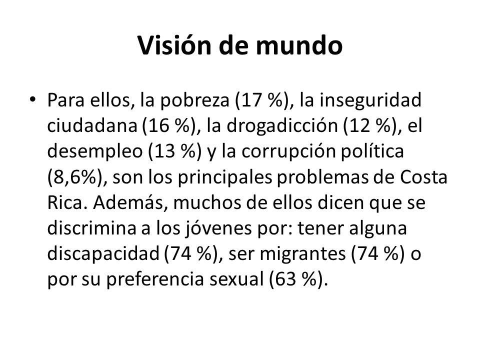 Visión de mundo Para ellos, la pobreza (17 %), la inseguridad ciudadana (16 %), la drogadicción (12 %), el desempleo (13 %) y la corrupción política (
