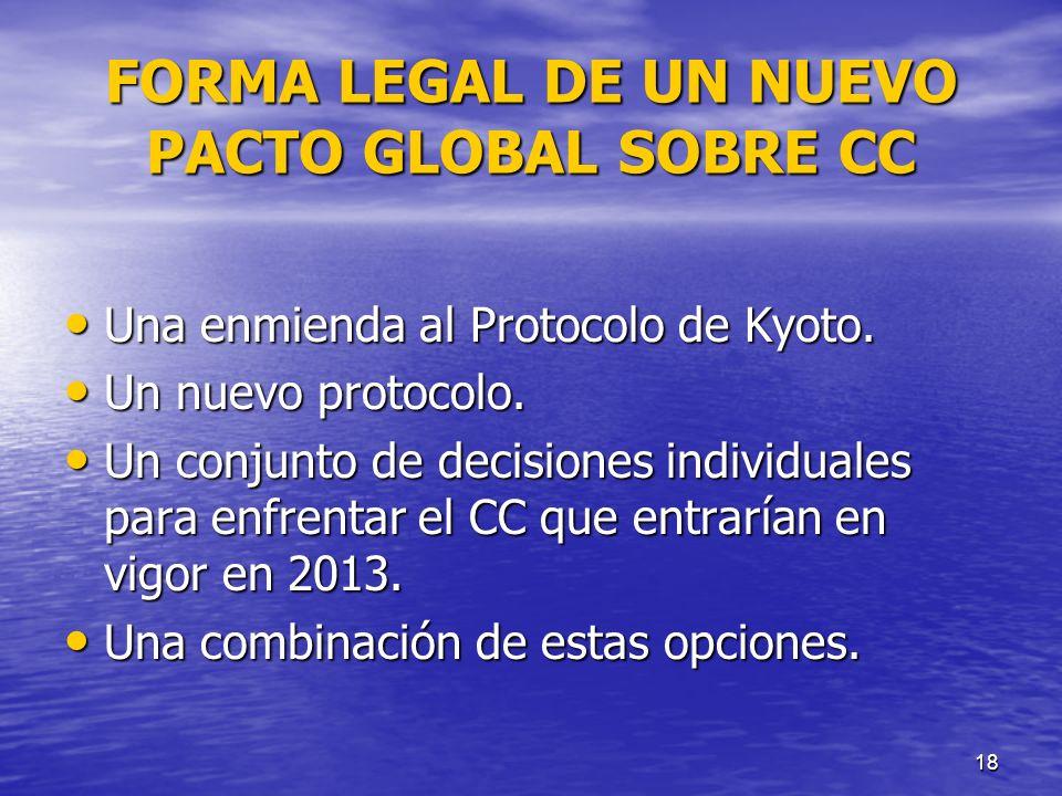 18 FORMA LEGAL DE UN NUEVO PACTO GLOBAL SOBRE CC Una enmienda al Protocolo de Kyoto. Una enmienda al Protocolo de Kyoto. Un nuevo protocolo. Un nuevo