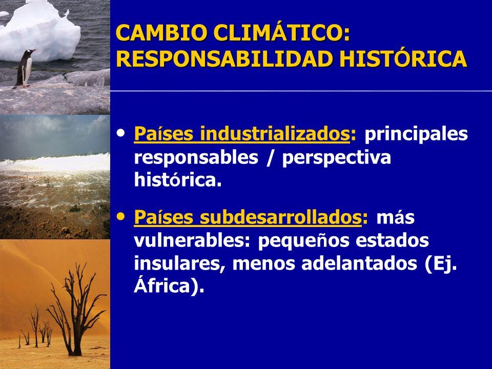 19 CAMBIO CLIM Á TICO: RESPONSABILIDAD HIST Ó RICA Pa í ses industrializados: principales responsables / perspectiva hist ó rica. Pa í ses subdesarrol
