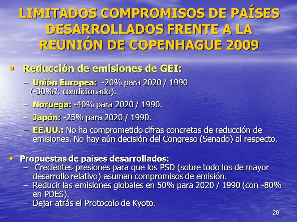 20 LIMITADOS COMPROMISOS DE PAÍSES DESARROLLADOS FRENTE A LA REUNIÓN DE COPENHAGUE 2009 Reducción de emisiones de GEI: Reducción de emisiones de GEI: