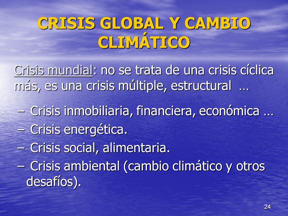 24 CRISIS GLOBAL Y CAMBIO CLIMÁTICO Crisis mundial: no se trata de una crisis cíclica más, es una crisis múltiple, estructural … – Crisis inmobiliaria