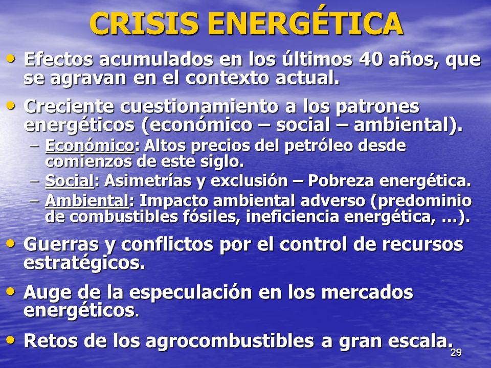 29 CRISIS ENERGÉTICA Efectos acumulados en los últimos 40 años, que se agravan en el contexto actual. Efectos acumulados en los últimos 40 años, que s