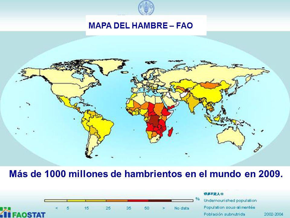 34 MAPA DEL HAMBRE – FAO Más de 1000 millones de hambrientos en el mundo en 2009.