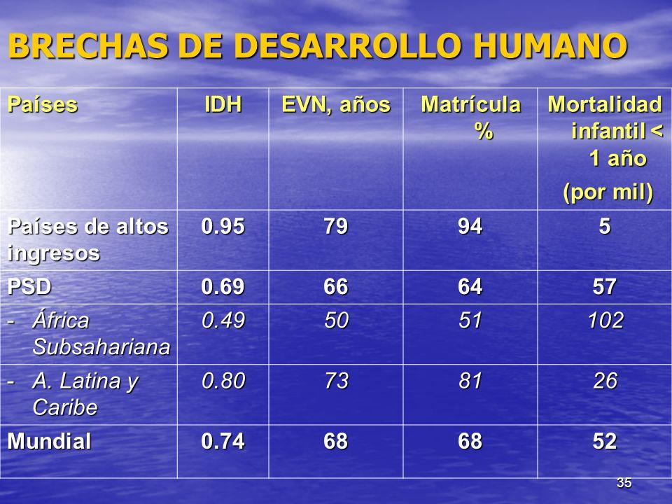 35 BRECHAS DE DESARROLLO HUMANO PaísesIDH EVN, años Matrícula % Mortalidad infantil < 1 año (por mil) (por mil) Países de altos ingresos0.9579945 PSD0