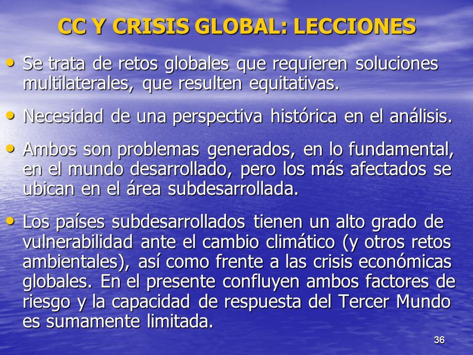 36 CC Y CRISIS GLOBAL: LECCIONES Se trata de retos globales que requieren soluciones multilaterales, que resulten equitativas. Se trata de retos globa