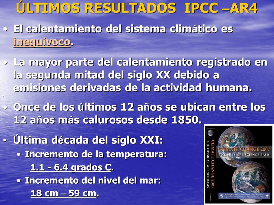 6 Ú LTIMOS RESULTADOS IPCC – AR4 El calentamiento del sistema clim á tico es inequ í voco.El calentamiento del sistema clim á tico es inequ í voco. La