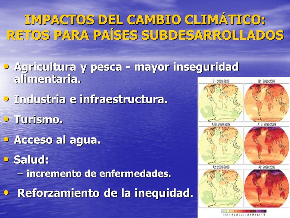 7 IMPACTOS DEL CAMBIO CLIM Á TICO: RETOS PARA PA Í SES SUBDESARROLLADOS Agricultura y pesca - mayor inseguridad alimentaria. Agricultura y pesca - may