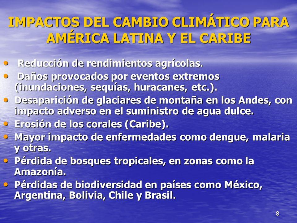 8 IMPACTOS DEL CAMBIO CLIMÁTICO PARA AMÉRICA LATINA Y EL CARIBE Reducción de rendimientos agrícolas. Reducción de rendimientos agrícolas. Daños provoc