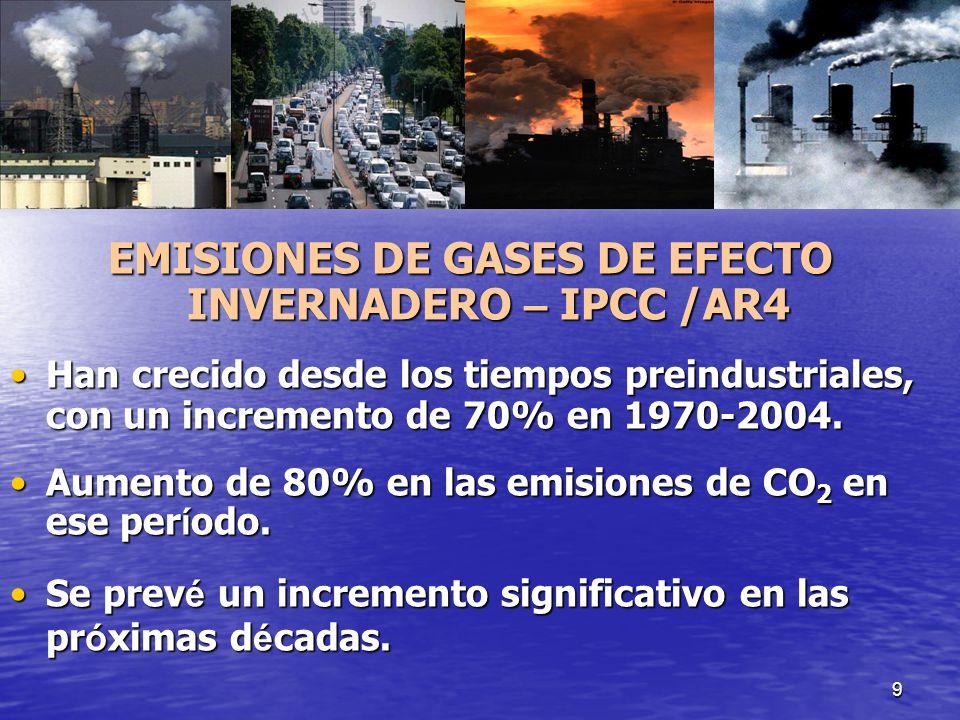 9 EMISIONES DE GASES DE EFECTO INVERNADERO – IPCC /AR4 Han crecido desde los tiempos preindustriales, con un incremento de 70% en 1970-2004.Han crecid