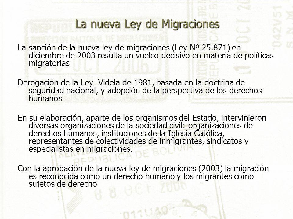 La nueva Ley de Migraciones La sanción de la nueva ley de migraciones (Ley Nº 25.871) en diciembre de 2003 resulta un vuelco decisivo en materia de po