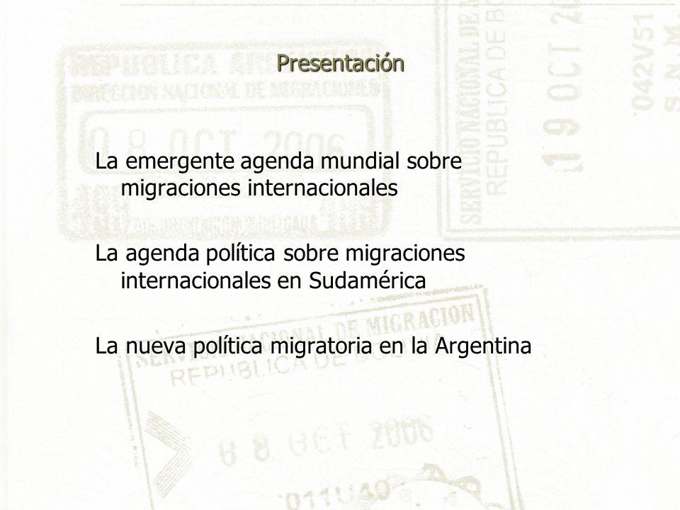 Presentación La emergente agenda mundial sobre migraciones internacionales La agenda política sobre migraciones internacionales en Sudamérica La nueva política migratoria en la Argentina