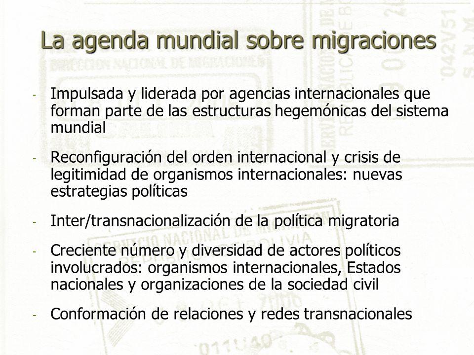 La agenda mundial sobre migraciones - Impulsada y liderada por agencias internacionales que forman parte de las estructuras hegemónicas del sistema mu