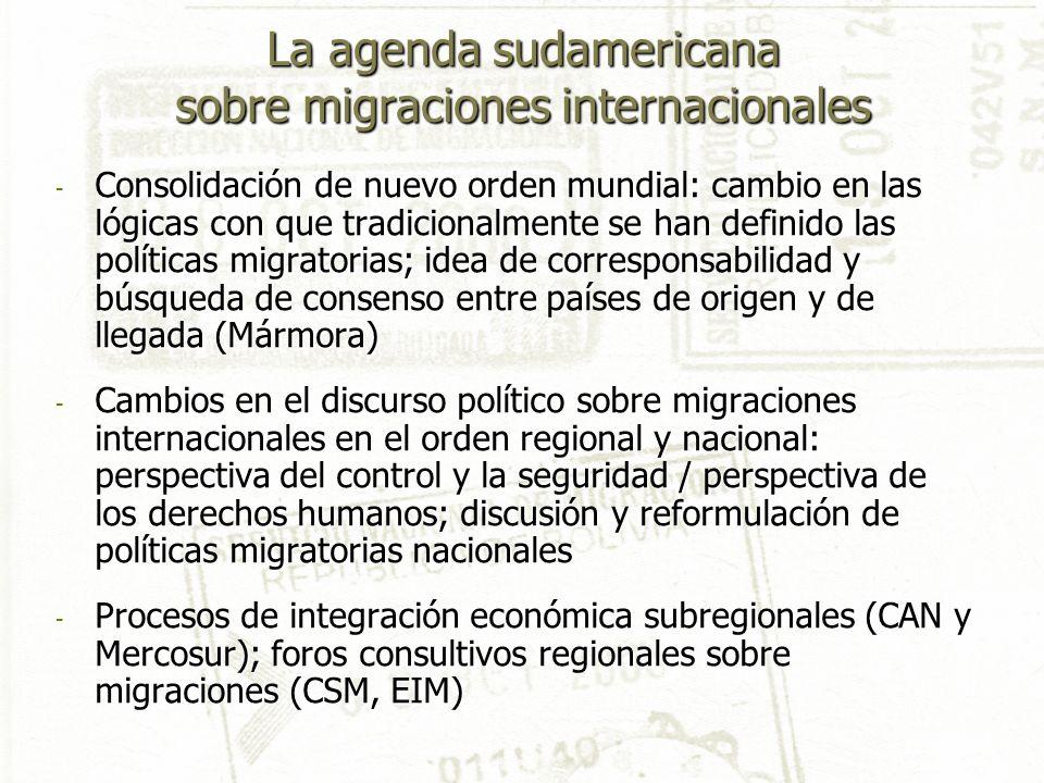 La agenda sudamericana sobre migraciones internacionales - Consolidación de nuevo orden mundial: cambio en las lógicas con que tradicionalmente se han