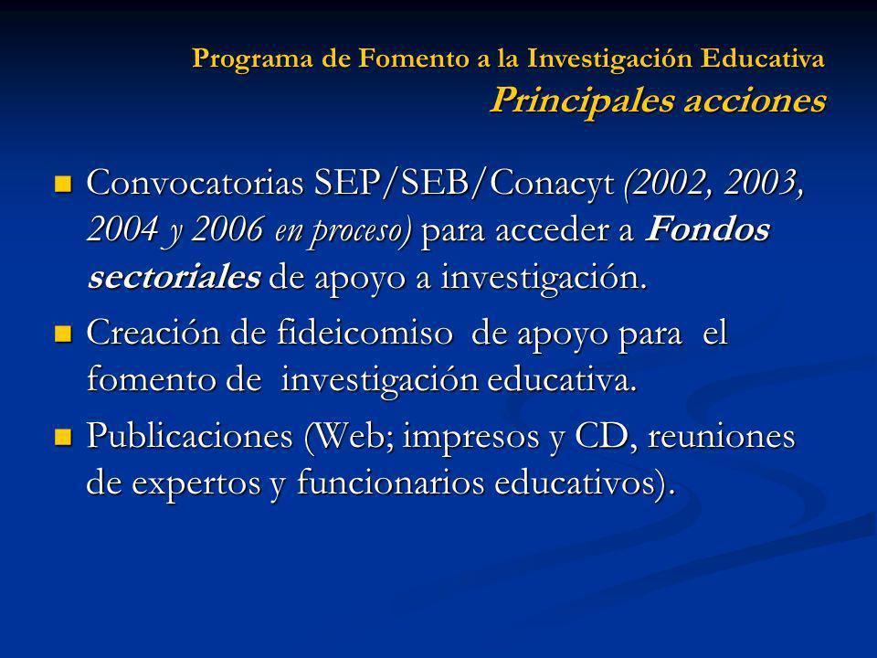Convocatorias SEP/SEB/Conacyt (2002, 2003, 2004 y 2006 en proceso) para acceder a Fondos sectoriales de apoyo a investigación. Convocatorias SEP/SEB/C