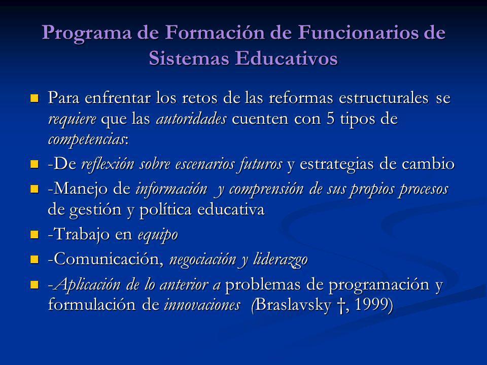 Programa de Formación de Funcionarios de Sistemas Educativos Para enfrentar los retos de las reformas estructurales se requiere que las autoridades cu