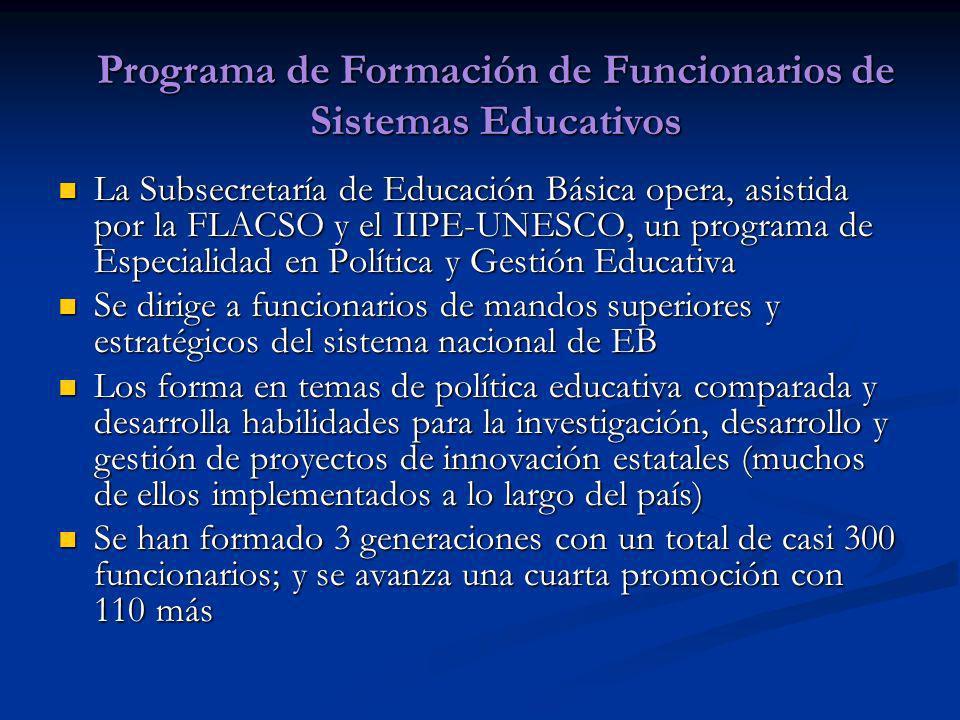 La Subsecretaría de Educación Básica opera, asistida por la FLACSO y el IIPE-UNESCO, un programa de Especialidad en Política y Gestión Educativa La Su