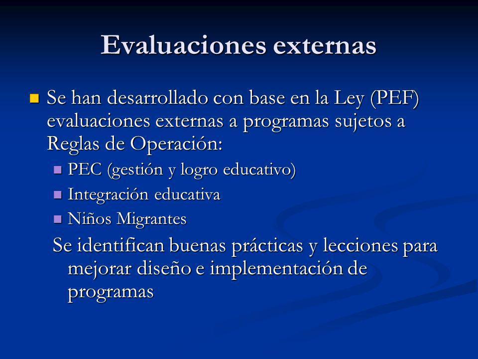 Evaluaciones externas Se han desarrollado con base en la Ley (PEF) evaluaciones externas a programas sujetos a Reglas de Operación: Se han desarrollad