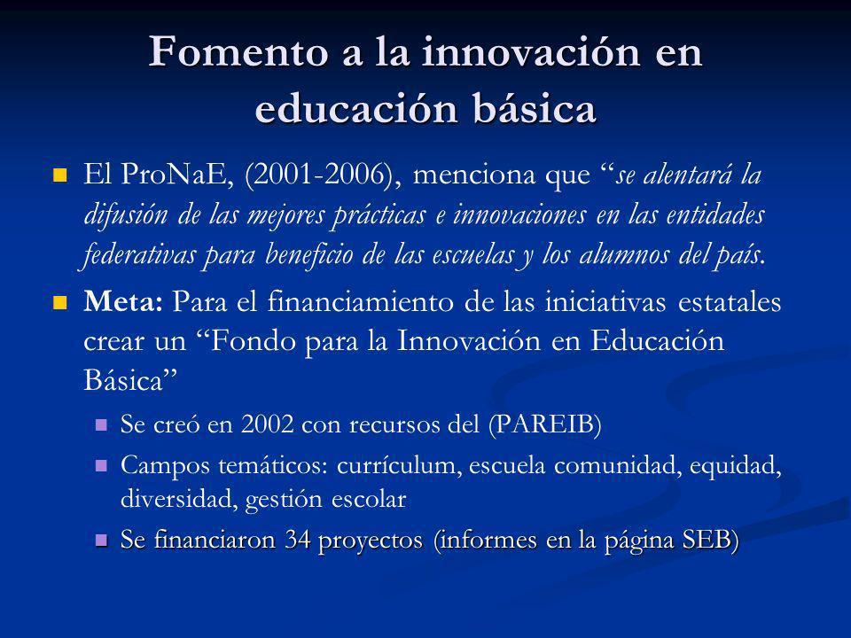Fomento a la innovación en educación básica El ProNaE, (2001-2006), menciona que se alentará la difusión de las mejores prácticas e innovaciones en la