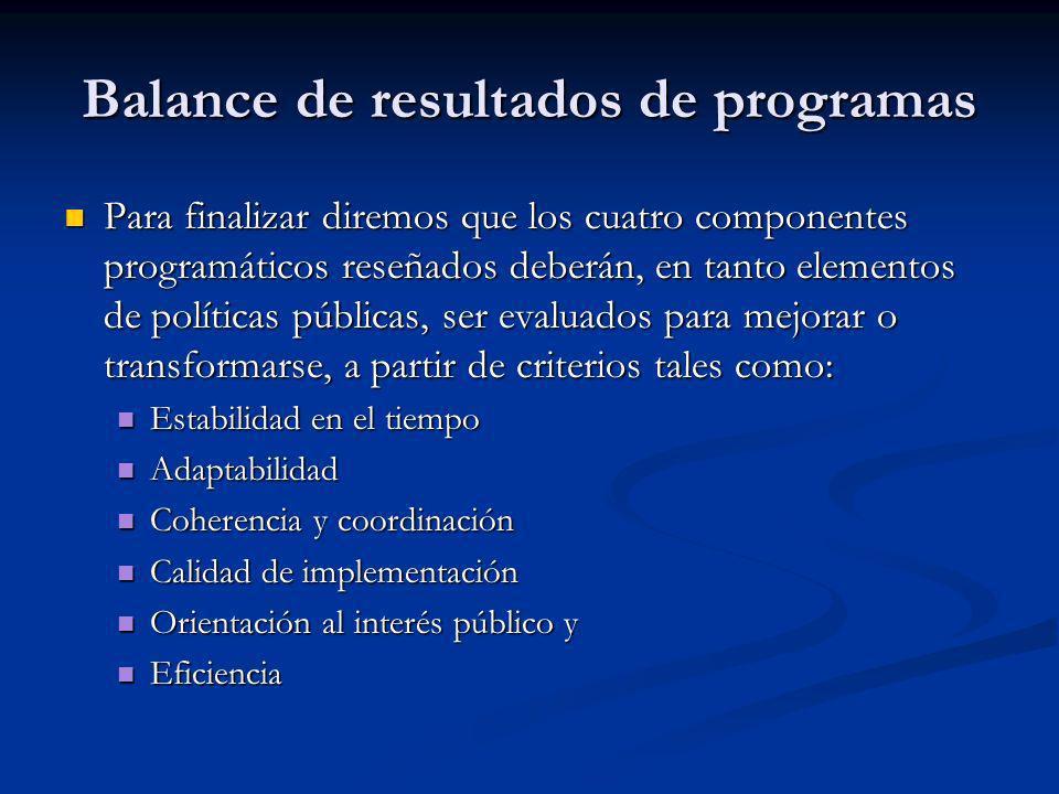 Balance de resultados de programas Para finalizar diremos que los cuatro componentes programáticos reseñados deberán, en tanto elementos de políticas