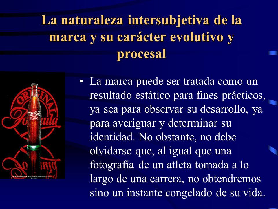 La naturaleza intersubjetiva de la marca y su carácter evolutivo y procesal La marca puede ser tratada como un resultado estático para fines prácticos
