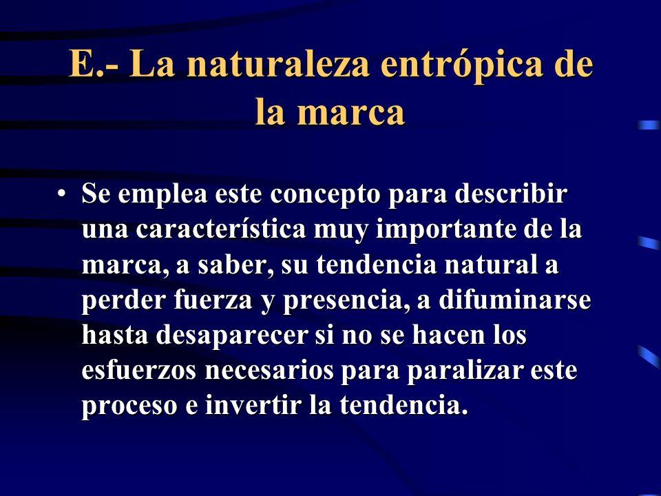 E.- La naturaleza entrópica de la marca Se emplea este concepto para describir una característica muy importante de la marca, a saber, su tendencia na