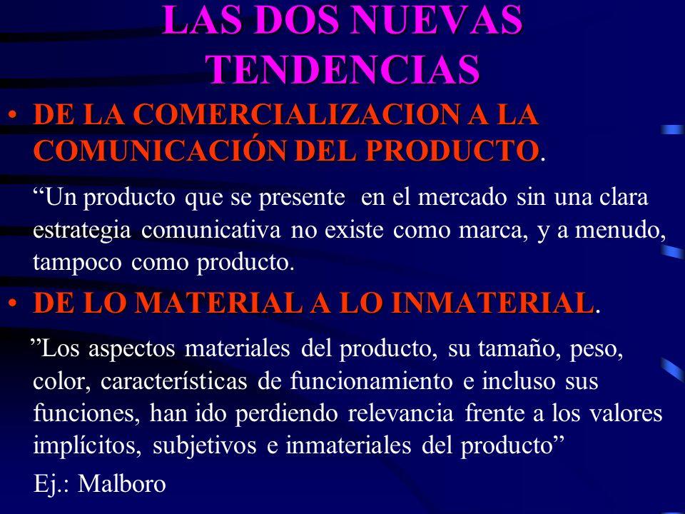 LAS DOS NUEVAS TENDENCIAS DE LA COMERCIALIZACION A LA COMUNICACIÓN DEL PRODUCTODE LA COMERCIALIZACION A LA COMUNICACIÓN DEL PRODUCTO. Un producto que
