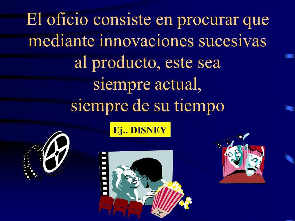 El oficio consiste en procurar que mediante innovaciones sucesivas al producto, este sea siempre actual, siempre de su tiempo Ej.. DISNEY
